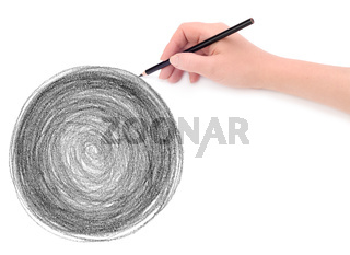 hand and circle pencil scribbles background texture