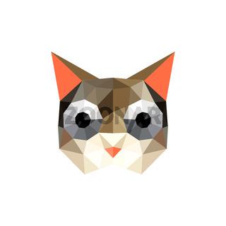 Illustration of funny origami cat