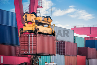 container loading and unloading closeup