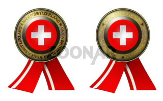 Set of 2 Switzerland seals Made in message and blank