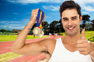 Composite image of athlete posing with gold medals