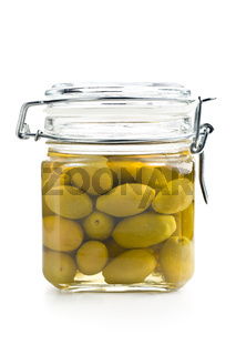 pickled green olives in jar