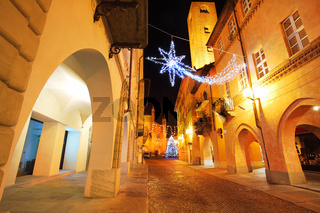Town center at evening. Alba, Italy.