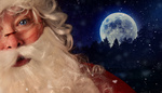 Closeup of Santa Claus with night sky in background