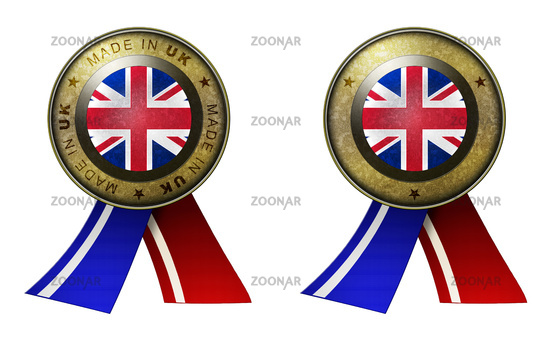Set of 2 UK seals Made in message and blank