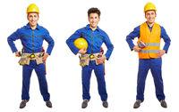 Drei Varianten von Arbeiter und Handwerker