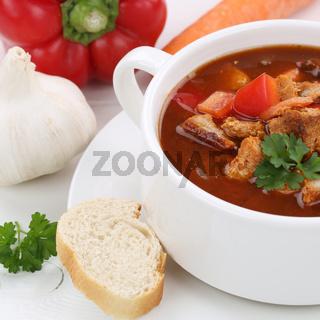 Gesunde Ernährung Gulasch Suppe Gulaschsuppe mit Fleisch und Paprika Nahaufnahme