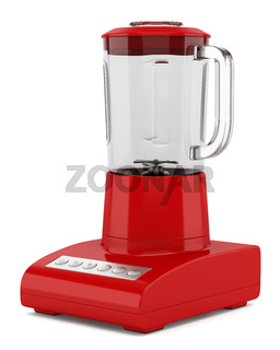 red countertop blender isolated on white background