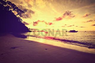 Sunrise over sea vintage style
