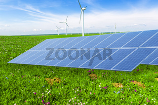solar panel in wind power field in blue sky