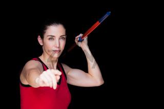 Female athlete throwing a javelin