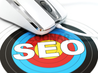 SEO concept. Mouse on the target with text.