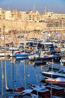 View on Malta bay between Kalkara and Birgu at  morning