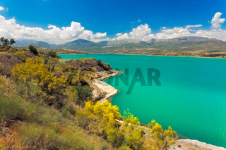 Lake Vinuela at a sunny day, Andalusia, Spain