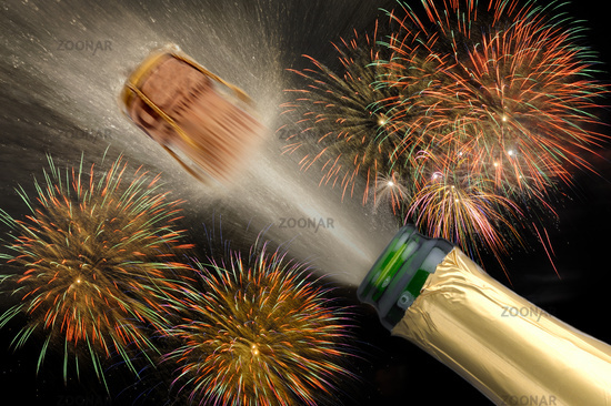 popping champagne bottle with firework