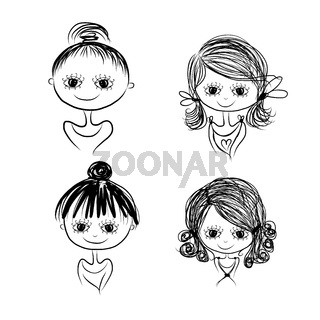 Set of cute girl characters, cartoon for your design