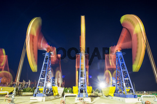 oil-rig of oilfield day and night