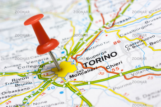 Torino on a map Image