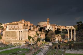 Dramatic sky over the Forum Romanum
