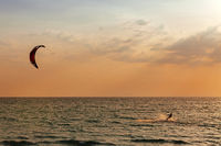 Kite surfer sailing in the sea at sunset