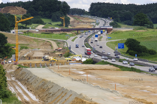 construction site on highway in germany