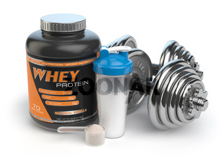 Sports bodybuilding  supplements or nutrition. Fitness or healthy lifestyle concept. Whey protein with dumbbells and shaker.