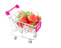 Strawberries in Shopping Cart.