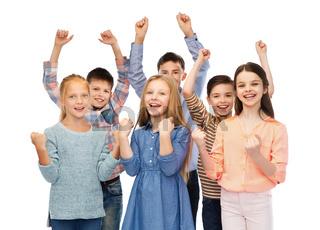 happy children celebrating victory