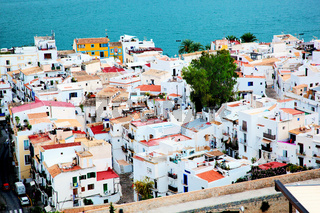City architecture by the sea, Ibiza, Spain