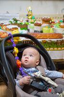 Newborn boy in a stroller
