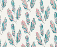 Hand Drawn Pattern with Tribal Feathers