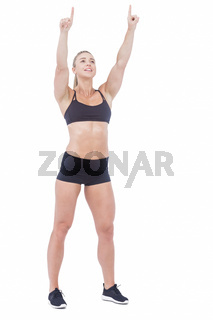 Female athlete raising fingers