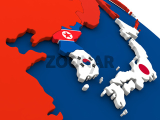 South Korean and North Korea on globe with flags