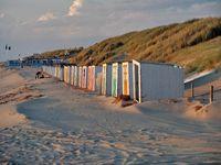 North Sea beach with cabanas