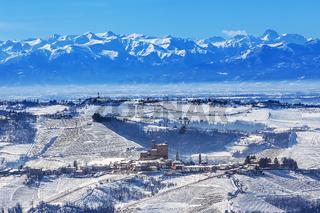 Hills of Piedmont in winter.