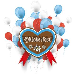 Bavarian Oktoberfest Heart Edelweiss Balloons