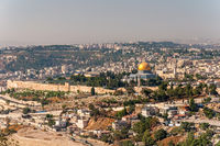 Dome of the Rock in beautiful panorama of Jerusalem