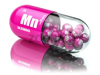 Pills with manganese Mn element Dietary supplements. Vitamin capsules.