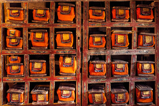 Folios of old manuscripts in Buddhist Monastery