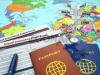 Travel insurance application form, passport and sign of destination on the map.