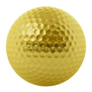 golden golf ball isolated on white background