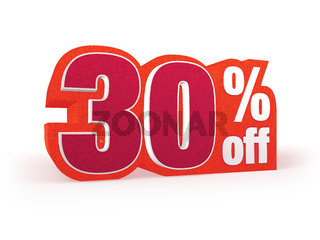 30 percent off red wool styled discount price sign