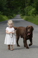 Little girl walks the dog
