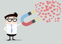 businessman attracting hearts