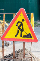 Construction Road Sign - Men at Work European sign