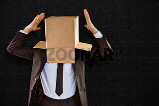 Composite image of anonymous businessman gesturing with hands