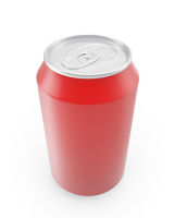 Red aluminum cans on a white background.
