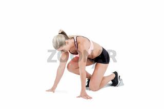 Female athlete on the start line
