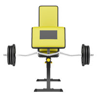gym arm curl bench with barbell isolated on white