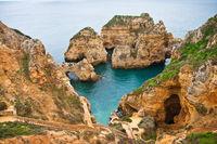 Rocky coast in the Algarve, Ponta da Piedade, Portugal.